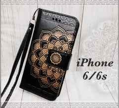 iPhone6/6s 手帳型ケース フラワー ストラップ    フィルム 黒色
