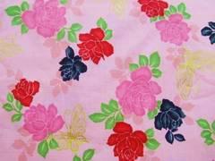 ピンク地薔薇と蝶柄 50×110