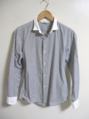 □EDIFICE/エディフィス ストライプ ドレスシャツ/ビジネスシャツ/S(38)ホワイト