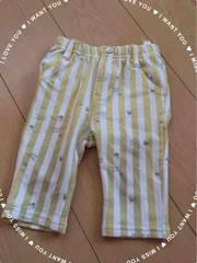 ディズニーbaby/白×黄/ストライプ柄/ミニー/7分丈ズボン/90�p