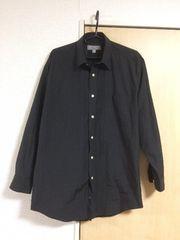 ブラック ビジネスシャツ 無地 長袖 ワイシャツ