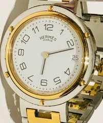 良品エルメスクリッパーメンズ時計コンビ稼働品ブレスベルト