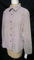 Louange新品ゴールド釦&ステッチ切替スエードシャツシングルジャケット灰色 L