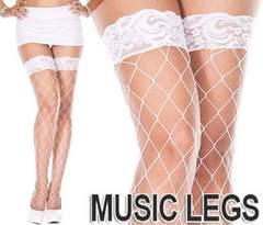 65a)MUSICLEGSレーストップサイハイストッキング白ホワイト網タイツダンス衣装パーティー