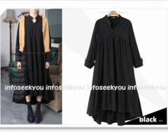 3L大きいサイズ/裾フレア〜ロングシャツワンピース3