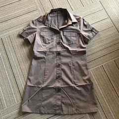 M-PREMIER.ブラウン半袖シャツ.38
