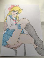 自作イラスト色鉛筆.セ-ラ-ヴィ-ナス.椅子に座って…パンチラ