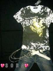 【LOWBOX】ゴールドイーグル切りっぱなしTシャツ