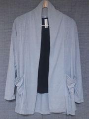 送料込★麻混UVカットショールカーデM-L★グレー羽織り