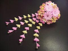 舞妓風花珠ダラリ髪飾り(かんざし)ピンク 振袖成人式&卒業式袴に