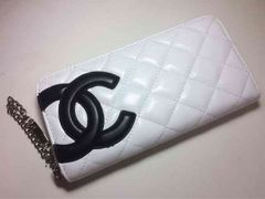 CHANEL カンボンライン 白×黒 長財布 ラウンドファスナー