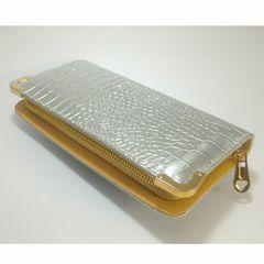 【大幅値下げ】キュ〜ト★クロコダイル型押し長財布(シルバー)