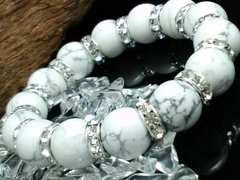 ハウライト12ミリ§銀ロンデル数珠