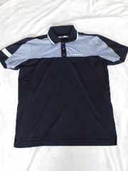 オークリー:脇メッシュスポーツ襟リブ黒グレーポロシャツ:美品L