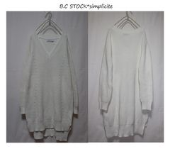 B.C STOCK*simpliciteコットンVネック*ロング丈ニットプルオーバーused