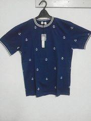 Aー129★新品★半袖イカリ総柄プリントTシャツ ブルー L