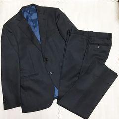 【美品】ピンストライプ ウールスーツ/黒/A5/毛100%