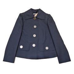 新品ミュウミュウmiu miuステンカラージャケット 濃紺 #36