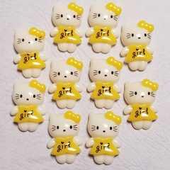 C ☆ 10コ ☆ girl ワンピース (黄色) キティ ☆ 約2.1cm ☆ デコパ