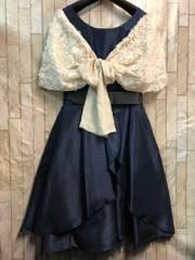 新品☆15号落ちないケープ付パーティワンピ素敵ドレス紺☆b765