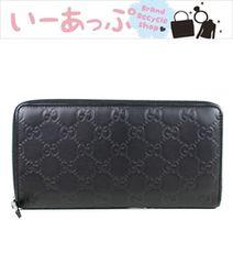 グッチ ラウンドファスナー長財布 ジッピーウォレット GG柄 黒 グッチシマ 極美品 g669