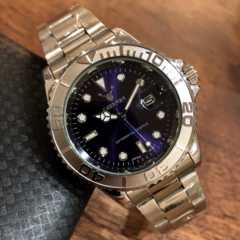 即決!ロレックス・ヨットマスタータイプ◇クォーツ メタル腕時計・ネイビー×シルバー