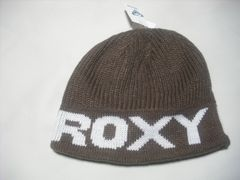 wb656 ROXY ロキシー ニット帽 ビーニー 茶