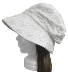 ハンドメイド◆膨れ織レースニット/セレブ帽子(ゆったり)◆白