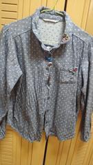 ドット柄カラフルぼたんシャツサイズL