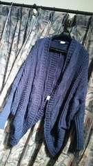 ブルームーンブルー☆ざっくりケーブル編みドルマンニットカーデ