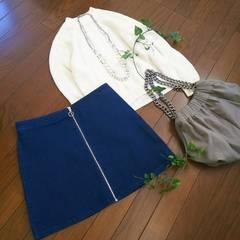 〇FOREVER21〇フロントファスナーデニムスカート*・゜美品