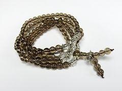 オシャレ天然石スモーキークオーツ茶水晶法器付長数珠