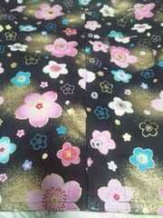 ☆新柄黒×着物風金彩桜柄ダボシャツ140
