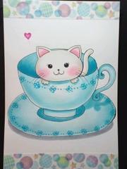 オリジナルイラスト◆子猫◆◆ティーカップ◆ハガキサイズ
