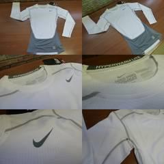 送料込(白XL)NIKEナイキ★長袖インナーシャツ 丸首コンプレッション暖か588892