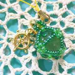 『手作り』ビー玉で作成!ちゅら玉風*strap(green)