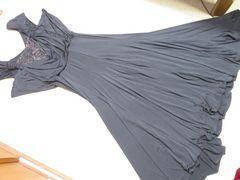 レース*フレアワンピースロングドレス(ブラック)社交ダンス