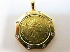 K18枠 ペンダント K24 純金 マン島コイン 1/10 オンス