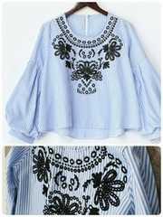 COCOON 7020円 バルーンスリーブストライプ長袖シャツ 刺繍
