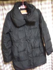 ★sunauna オシャレデザイン ダウン ロングコート 襟モダン モコモコ 暖かい 黒●