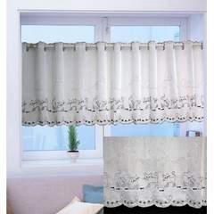 カフェカーテン 刺繍キャット グレー 150x45 12063