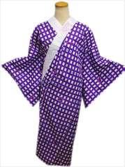着物和装下着 お仕立上がり柄長襦袢紫地格子猫M・L