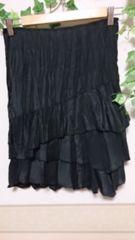 Pinky&Dianne スウェードプリーツ加工 スカート * 黒