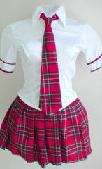 美品*美ライン白Yシャツ&赤チェックスカート&ネクタイセット
