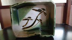 明治期…織部焼→四方向松絵鉄釉皿