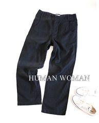 HUMAN WOMAN*ヒューマンウーマン*ヘンプ混ワイドパンツ・Lサイズ♪