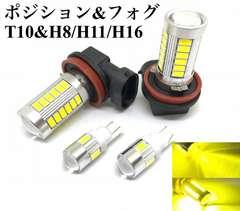 同色レモンイエロー LED T10ウエッジとH8/H11/H16兼用フォグ黄色