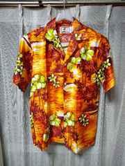 OTAHEITE 古着 ヴィンテージ 半袖 アロハシャツ XSサイズ 綿 オレンジ 赤 アメリカ製