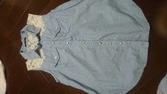 即決☆Mサイズ水色デニム地肩レースタンクトップシャツ