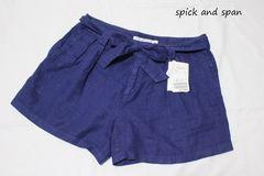 スピックアンドスパン*spick and spanリネンBIOショートパンツ(40)新品ブルー